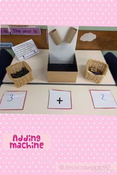 Adding machine. Put some marbles down each tube and then add them all up to find the total! EYFS