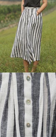 Diy Maxi Skirt, Maxi Skirt Outfits, Striped Maxi Skirts, Womens Maxi Skirts, Linen Skirt, Stripe Skirt, Women's Skirts, Maxi Skirt Outfit Summer, Girl Skirts