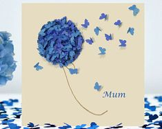 I've just found Butterfly Mothering Sunday Card, Blue Hydrangea Card. Send this beautiful butterfly 'On Mothering Sunday' blue hydrangea card to let your Mum know how special she is. Each butterfly represent love. Butterfly Birthday Cards, Birthday Cards For Mom, Butterfly Cards, Butterfly Flowers, Flower Cards, Mum Flower, Card Birthday, Friend Birthday, Happy Birthday