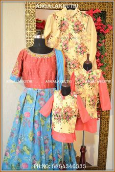 Family matching dress designs by Angalakruthi Bangalore India Mother and son matching dress designs Dad and son same dress designs Kurta pajama matching family dresses Kids traditional dress designs Angalakruthi boutique in Bangalore India Mother Daughter Dresses Matching, Mother Daughter Outfits, Mom Daughter, Matching Family Outfits, Mother And Child, Mom And Baby Dresses, Mommy And Me Outfits, Mom Dress, Designs Kurta