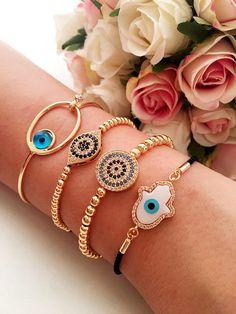 Evil eye bracelet gold evil eye bracelet hamsa beacelet