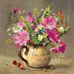 Musk Mallows and Harvest-Time Flowers, by Flower Painting by Anne Cotterill ~ Mill House Fine Art ....