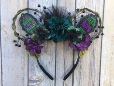 Room for One More Haunted Mansion-Inspired Floral Mickey Diy Disney Ears, Disney Minnie Mouse Ears, Disney Diy, Disney Crafts, Disney Headbands, Halloween Headband, Disney Bound Outfits, Diy Hair Accessories, Haunted Mansion
