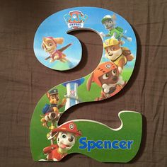 """Custom wooden letters or numbers hanging Paw Patrol wood letter number door sign 9"""" personalized birthday party centerpiece banner"""