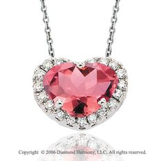 14k White Gold Pink Cizi Prong Diamond Heart Necklace -> Description: A prominent pink Cizi is bordered by 20 gleaming prong set diamonds on a full heart of white gold. You 'll be leaving a lasting impression with this 14k White Gold Pink Cizi Prong Diamond Heart Necklace. -> sku=HT9172 -> Price $350.00