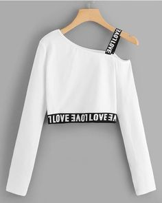 """The post """"Letter Print Crop TeeFor Women-romwe"""" appeared first on Pink Unicorn Ropa Teen Fashion Outfits, Mode Outfits, Cute Fashion, Outfits For Teens, Girl Fashion, Girl Outfits, Fashion Dresses, Fashion Styles, Preteen Girls Fashion"""