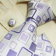 NEW Designer Silver Blue Checkers 100% Jacquard Woven Silk Tie Hanky Mens Necktie and Cuff Links Cufflinks and Handkerchiefs Set H5001