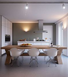 Bright and Cozy Home Design from Triple D:Contemporary Kitchen Diner With White Kitchen Island And Small Ceiling Track - wall of cupboards Kitchen Ikea, Kitchen Units, Kitchen Interior, New Kitchen, Kitchen Dining, Dining Area, Kitchen Island, Kitchen Decor, Dining Chairs