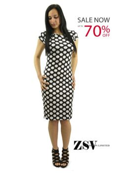 Women-Spotted-Polka-Dots-Allover-Print-Cap-Sleeves-Bodycon-Midi-Dress