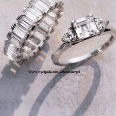Silpada makes you feel beautiful in this channel set eternity band and emerald cut ring in .925 Sterling silver order these rings and more from my website www.mysilpada.com/deborah.herpel