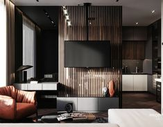 Apartment in Moscow on Behance Modern Home Interior Design, Home Room Design, Bathroom Interior Design, Living Room Designs, Living Room Tv, Living Room Interior, Home And Living, Living Room Partition Design, Room Partition Designs