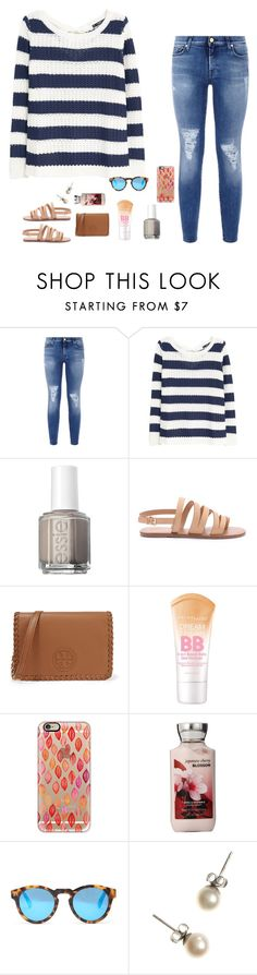 """""""lost and insecure you found me"""" by moonhauntedmyocean ❤ liked on Polyvore featuring 7 For All Mankind, MANGO, Essie, Forever 21, Tory Burch, Maybelline, Casetify, Illesteva, J.Crew and women's clothing"""