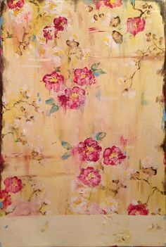 Kathe Fraga Art, www.kathefraga.com Kathe's paintings are inspired by the romance of vintage French wallpapers and Chinoiserie with a modern twist. 36x24 on frescoes panel.