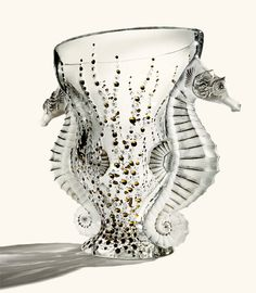 """Lalique ~ Exclusively Bergdorfgoodman.com  """"Poseidon"""" crystal vase with 24k gold detail. Limited edition of 199. 11.6″ high x 14″ wide x 6.7″ deep. France."""