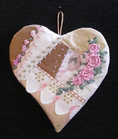 beautiful crazy quilt heart