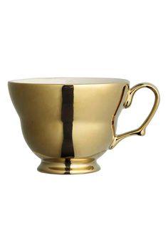 Stoneware mug: Stoneware mug with a metallic finish. Height 8 cm, diameter 10 cm.