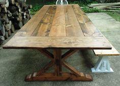 Custom Made Reclaimed Wood Chevron-X Style Farmhouse Table