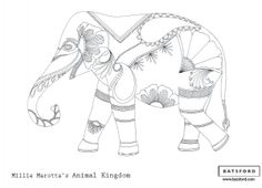 """Free Printable Elephant Coloring Page from Millie Marotta's """"Animal Kingdom""""... there's 4 more free images from this book on the page! Print and Color knowing that you've got the artist's permission."""