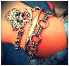Get this Look!  Double Hearts Bracelet - $32.00 Cadence Cuff Mint - $32.00 Whisper Charm Bracelet – FREE! when you host a party!!!  https://kellydavis.jewelkade.com/Shop