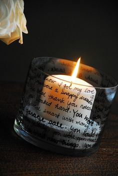 DIY candle holder made with a simple paint glass pen. Words, songs or quotes.