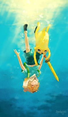 Adventure Time - Finn and Jake in the open sea, of which Finn has a phobia.<wait really?