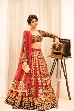 Modern bridal lehenga red and gold #wedmegood