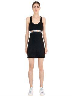 MOSCHINO UNDERWEAR TEDDY BEAR LOGO RIBBED COTTON DRESS, BLACK. #moschinounderwear #cloth #dresses