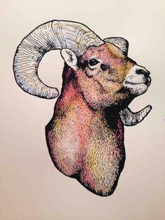 Ram Silkscreen, Painted Print