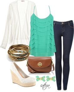A fashion look from March 2013 featuring Calypso St. Barth cardigans, Forever New jeans and ALDO shoes. Browse and shop related looks. Cute Spring Outfits, Pretty Outfits, Cute Outfits, Cute Fashion, Fashion Outfits, Womens Fashion, Fall Fashion, Look At You, Spring Summer Fashion