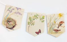 peonyandthistle Butterflies are starting to visit our garden. Paper Bunting, Bunting Flags, Bunting Garland, Presents For Mum, Gifts For Mum, Easter Garland, Easter Decor, Roots And Wings, Art Template