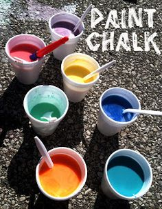 chalk paint - paint the hard surface (sidewalk, driveway, walkway, porch) and dried like chalk - Tiny Tots and Polka Dots