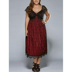 #Rosewholesale - #Rosewholesale Plus Size Low Cut Empire Waist Lace Prom Dress - AdoreWe.com