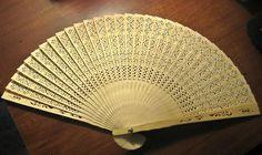vintage fans 1950s | Vintage 1950s Chinese Balsa Wood Hand Fan by FireSaleAntiquities
