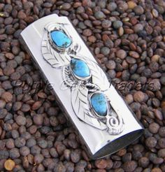Vintage Style BIC Lighter Case Silver and Turquoise MALC4959 | eBay