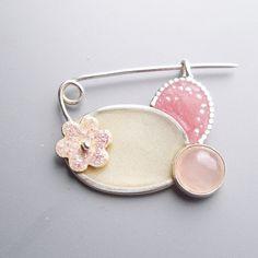 Fiona Chapman - Pink Brooch (silver, resin, mother of pearl, rose quartz, enamel)