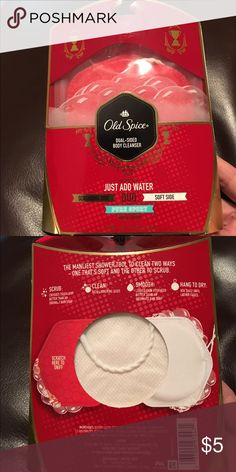 Old Spice Dual Sided Body Cleanser Old Spice Duo is a flexible, dual sided body cleanser that scrubs, cleans, and smooths skin.  You then let it hang dry for further use until the lather fades. P&G Other