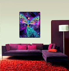 """Psychedelic Tapestry, Angel Wall Decor, Meditation Room Art, Wall Hanging, """"Bubbles of Clearing"""" 40"""" x 50"""""""