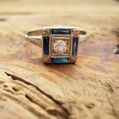 VINTAGE Art Deco Diamond and Sapphire Engagement Ring by arreign, $685.00