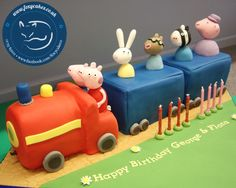 Peppa Pig Train, made by The Foxy Cake co! Themed Parties, Party Themes, Birthday Parties, Party Ideas, Peppa Pug, Cake & Co, Pig Birthday, Macs, Birthdays