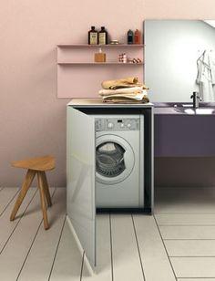 Des meubles pour faire disparaître le lave-linge.