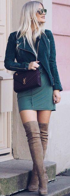 #fall #street #style   Shades Of Green + Tan