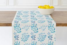 Blue Flora Table runner by Abby Spangenberg | Minted