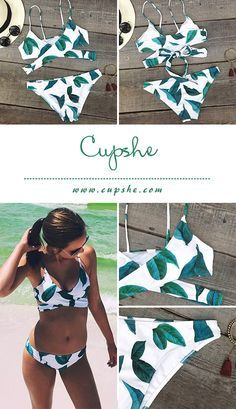 This fashion Fresh leaves printing swimwear will be the best fitting you have ever worn! Front cross and the dangerously tie at back will have heads turning and you are feeling like a beach star!