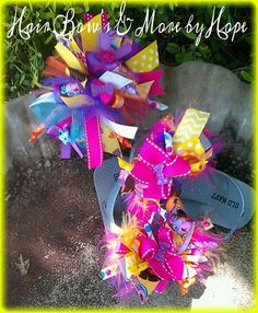 Dora Hair Bow & Matching Flip Flops .... Find me on fb Hair Bow's & More by Hope
