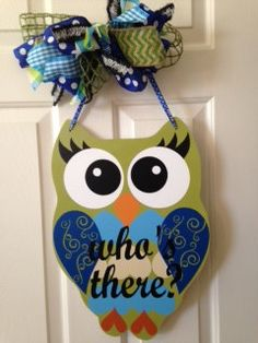 Owl+Door+Hanger/Wall+Hanger/Door+Sign+by+thepaisleypetalvegas,+$30.00