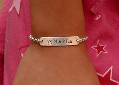 ID Bracelet for Girls and Boys  hand stamped jewelry