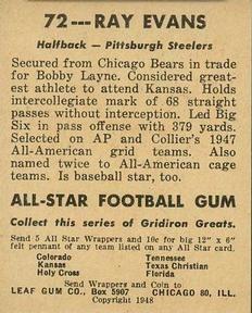 1948 Leaf #72 Ray Evans Back
