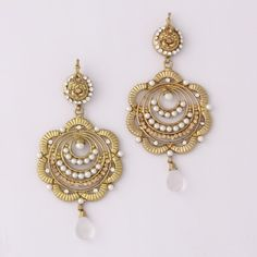White Drop Flower Earring By Variation