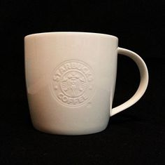 Starbucks Mug RARE White Embossed Bone China White 2009 Collectible 16 oz. $21.99