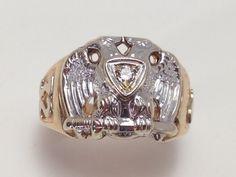 Men's Masonic Ring Gold Masonic Ring by EstateJewelryMama